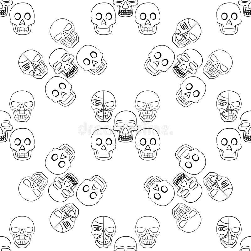 Vektor som är sömlös med skallar vektor illustrationer