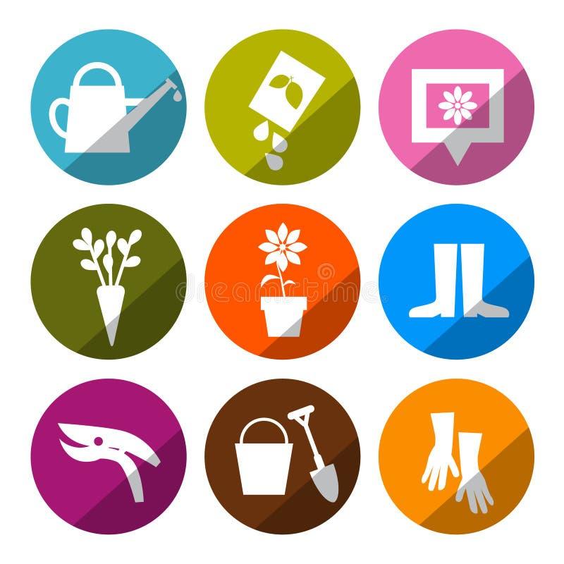 Vektor som arbeta i trädgården symboler - hjälpmedeluppsättning stock illustrationer