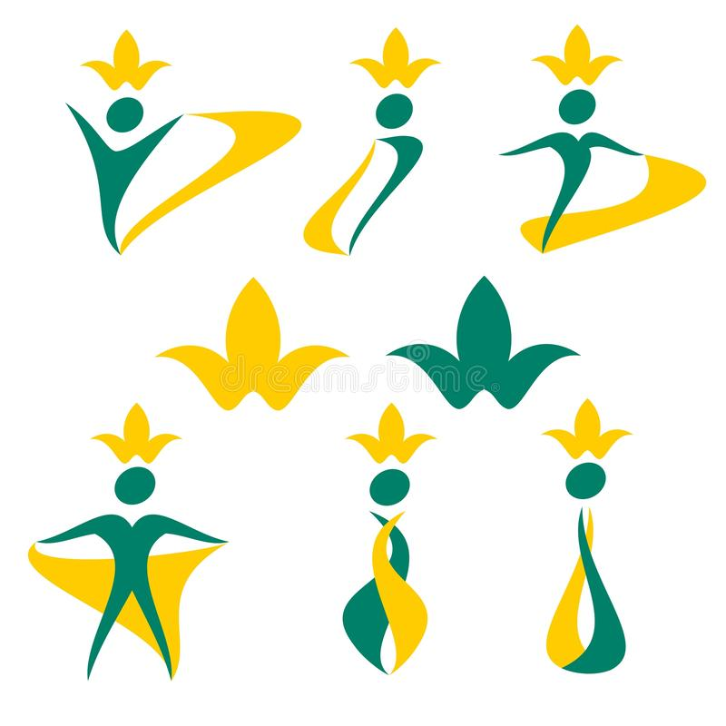 Vektor som drar folkberöm, logo, hälsa, botanik, ekologi, blomma stock illustrationer