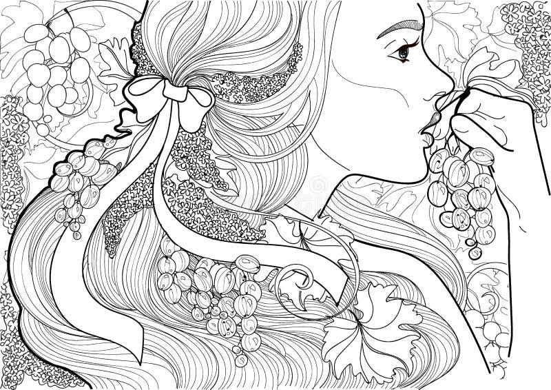 Vektor som färgar den härliga flickan med ett band i hennes hår och vinranka som äter druvor vektor illustrationer