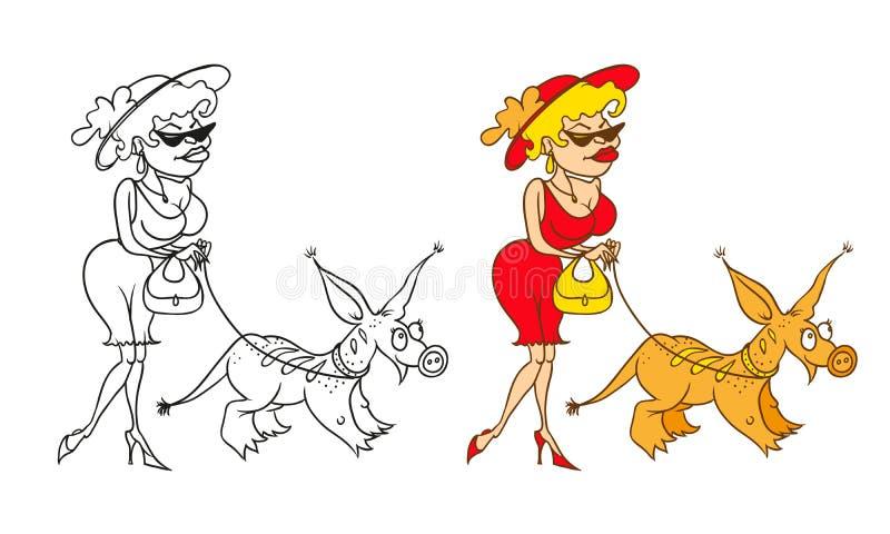 Vektor som färgar det humoristiska karikatyrteckenet Den rika damen i en hatt med hemmet ett exotiskt husdjur royaltyfri illustrationer