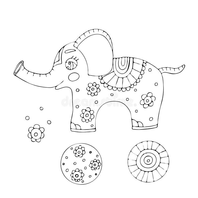 Vektor som färgar sidaöversikten av boken för tecknad filmelefantfärgläggning för ungar royaltyfri illustrationer