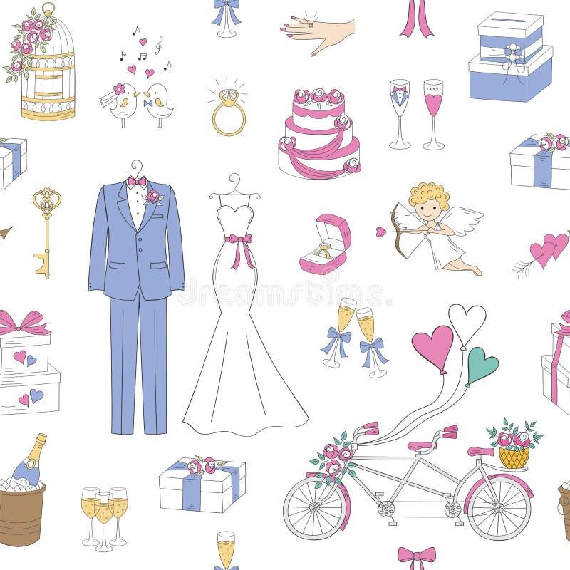 Vektor som gifta sig sömlös bakgrund royaltyfri illustrationer