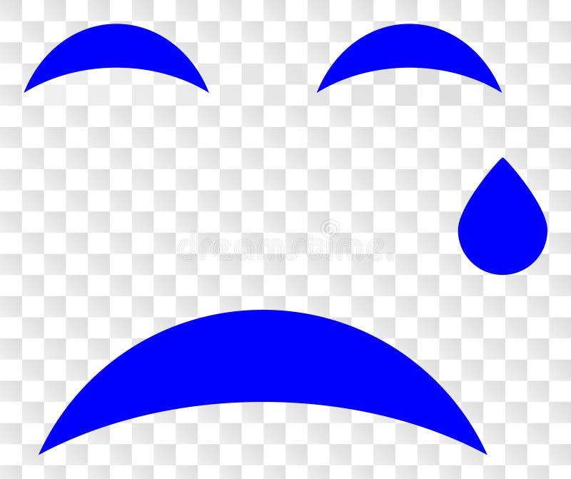 Vektor som gråter Smiley Icon på genomskinlig bakgrund för schack vektor illustrationer