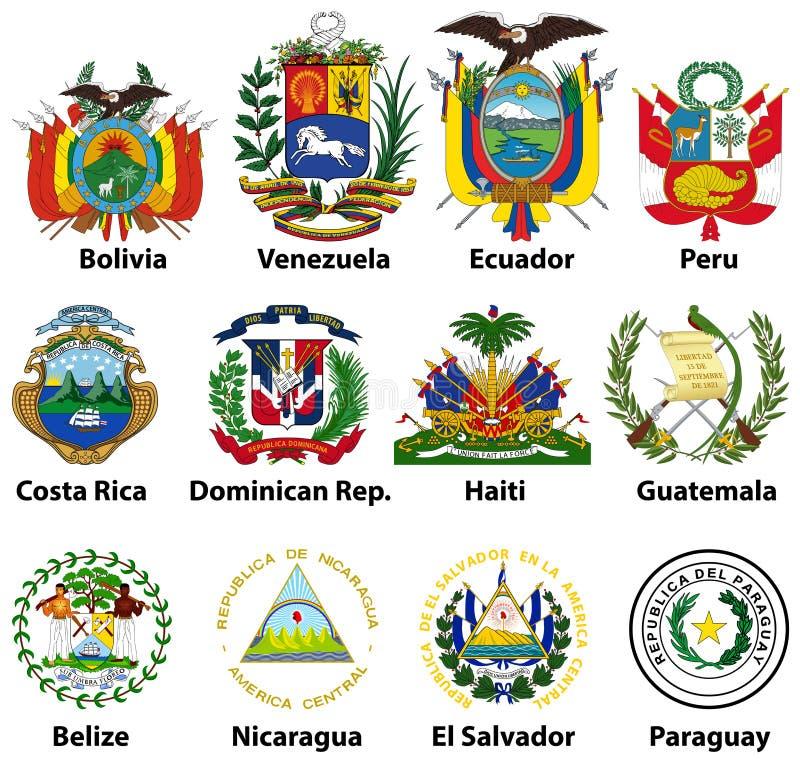 Vektor som isoleras på den vita vapenskölden av centralen och söder - amerikanska länder royaltyfri illustrationer