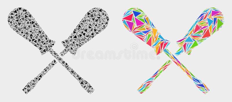 Vektor som korsar den mosaiska symbolen för skruvmejslar av triangelobjekt stock illustrationer