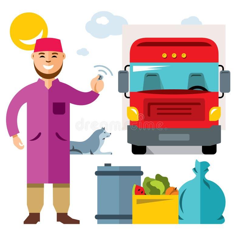 Vektor som lastar av lastbilen Färgrik tecknad filmillustration för plan stil stock illustrationer