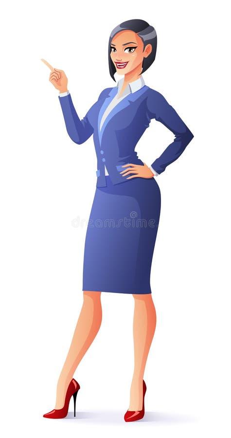 Vektor som ler affärskvinnan i dräkt med fingret som pekar upp royaltyfri illustrationer