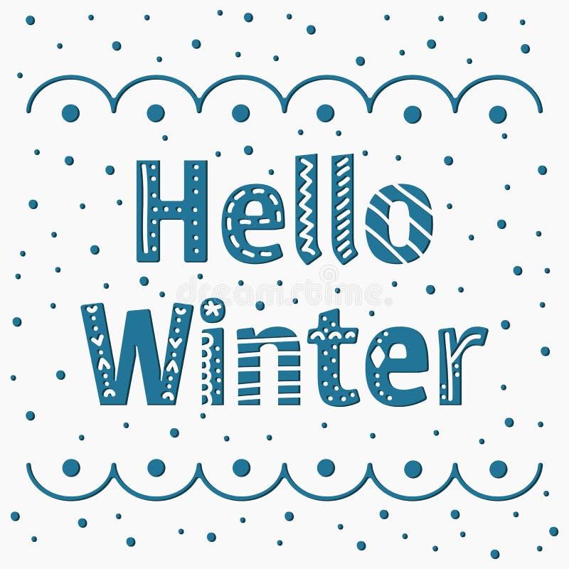 Vektor som märker sammansättning med den blåa ordHello vintern Skapa stock illustrationer