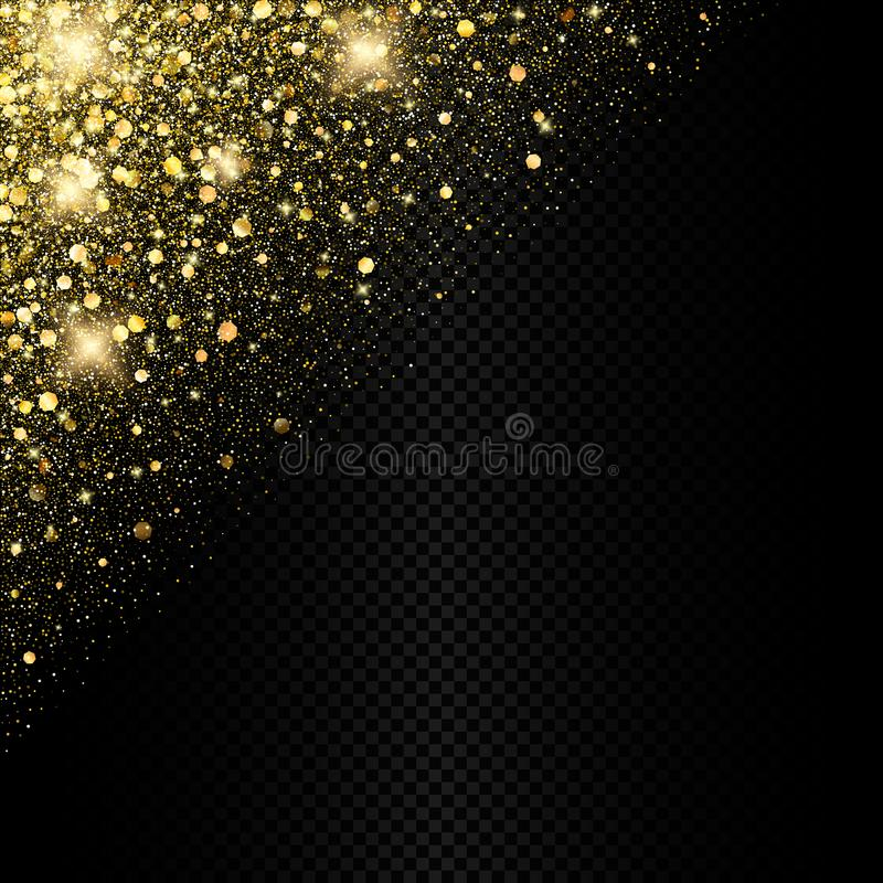 Vektor som mousserar guld- konfettibakgrundsgarnering stock illustrationer