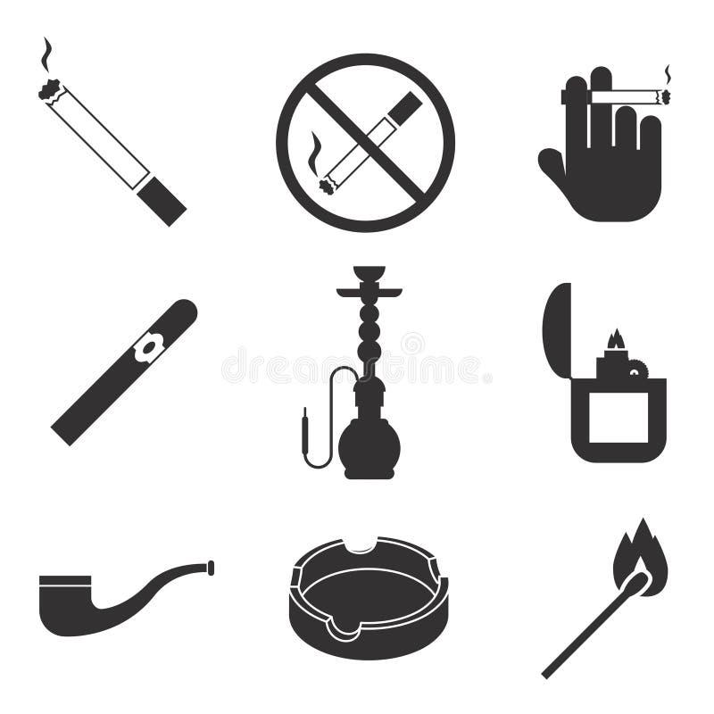 Vektor som röker symbolsuppsättningen vektor illustrationer