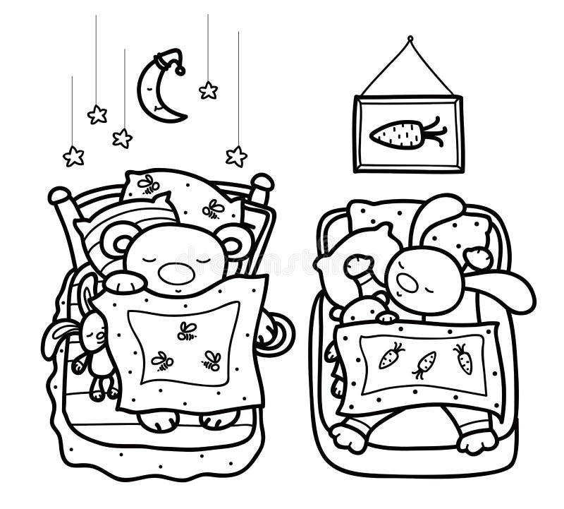 Vektor som sover gulliga djur royaltyfri illustrationer