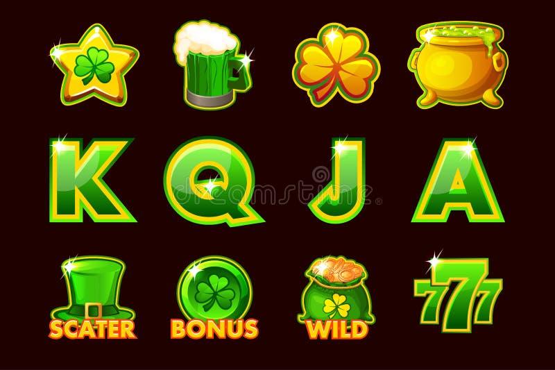 Vektor som spelar symbolen av StPatrick symboler för enarmade banditer och en lotteri eller en kasino Ställ in 12 symboler royaltyfri illustrationer
