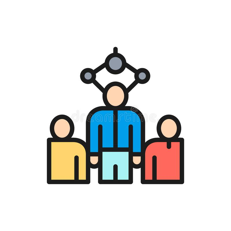 Vektor som väljer anställd, rekrytering som rekryterar den plana färglinjen symbol för byrå stock illustrationer