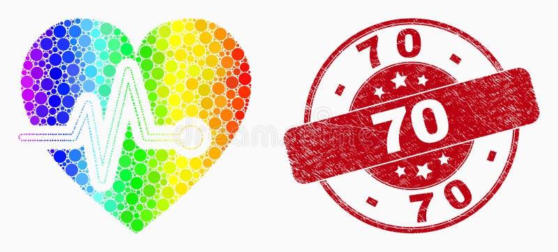 Vektor spektral- Dot Heart Pulse Icon och skrapad vattenstämpel 70 stock illustrationer