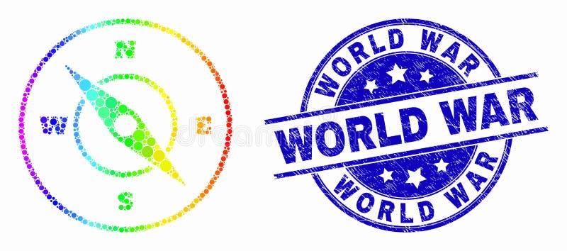 Vektor-Spektrum-Pixel-Kompass-Ikone und Bedrängnis-Weltkrieg-Wasserzeichen lizenzfreie abbildung