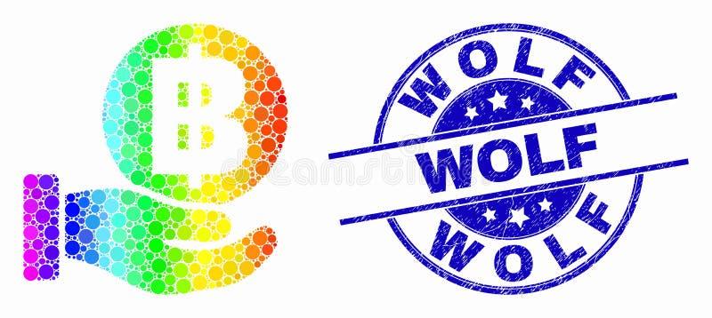Vektor-Spektrum punktierte Handangebot Bitcoin-Ikone und Schmutz Wolf Watermark vektor abbildung