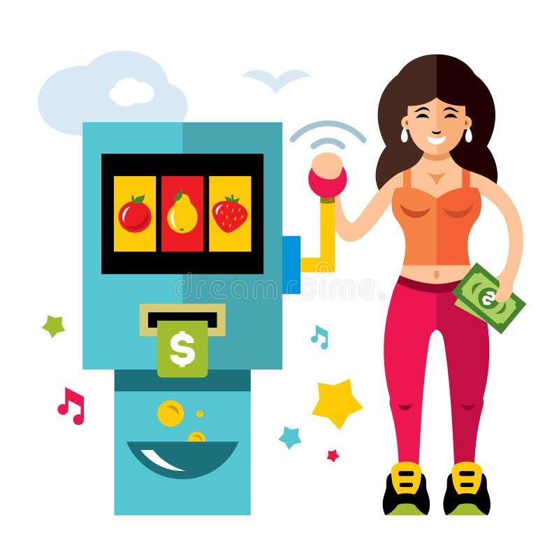 Vektor-Spielautomat und Mädchen Rote Würfel getrennt auf einem weißen Hintergrund Flache Art bunte Karikaturillustration lizenzfreie abbildung