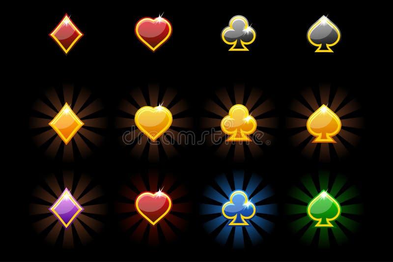 Vektor-Spielkarte-Symbole, glatte Ikonen von Spielkarten auf schwarzem Hintergrund lizenzfreie abbildung