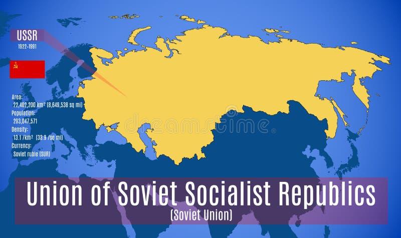 vektor Sschematic översikt av Sovjetunionenet USSR royaltyfri illustrationer