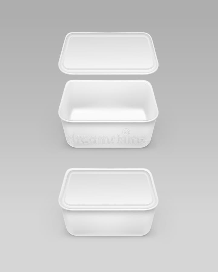 Vektor stängd öppnad vit mataskbehållare för majonnäs, ost med etiketten för packedesign på bakgrund stock illustrationer