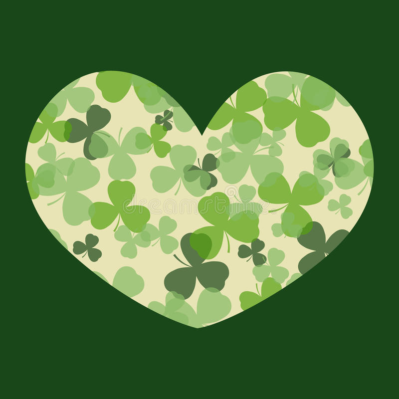 Vektor-St Patrick Tageskarte Grün und Weißklee verlässt auf Herzform und dunklem Hintergrund lizenzfreie abbildung