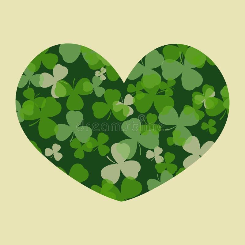 Vektor-St Patrick Tageskarte Grüner Klee verlässt auf Kleeherzform und weißem oder beige Hintergrund stock abbildung