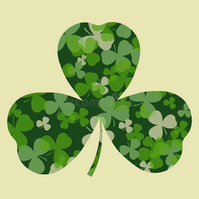 Vektor-St Patrick Tageskarte Grüner Klee verlässt auf Kleeherzform und weißem oder beige Hintergrund lizenzfreie abbildung
