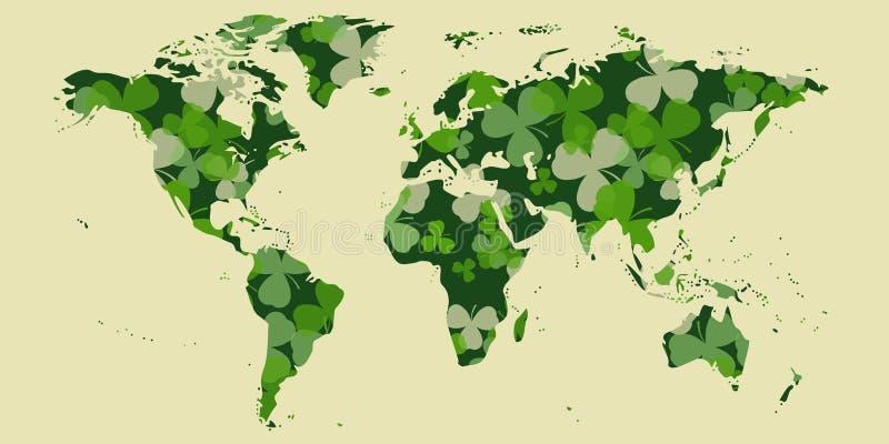 Vektor-St Patrick Tageskarte Grüner Klee verlässt auf Weltkarteform und weißem oder beige Hintergrund vektor abbildung