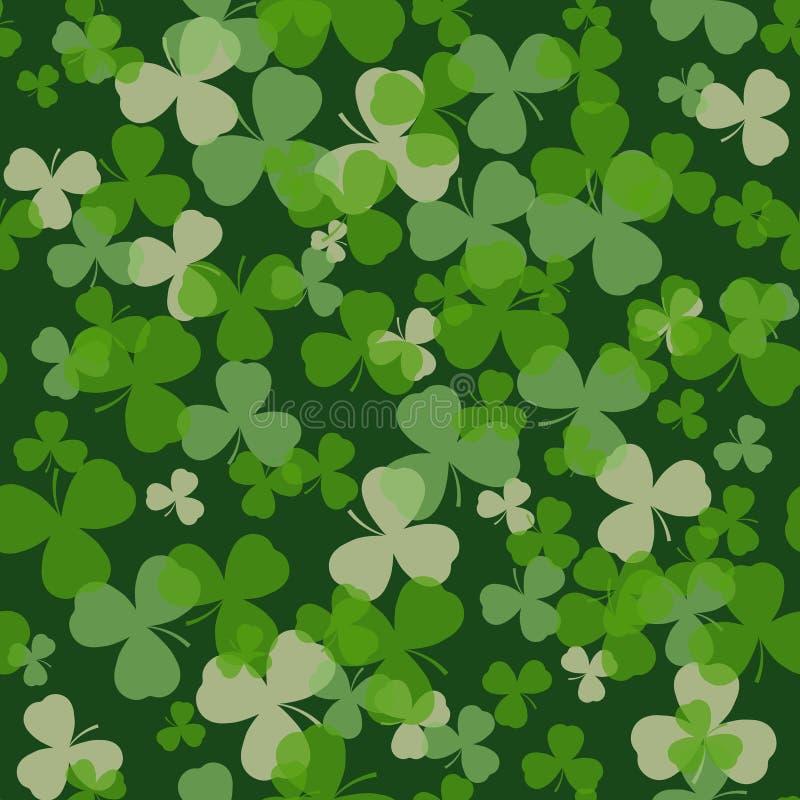 Vektor-St Patrick Tagesnahtloses Muster Grün und Weißkleeblätter auf dunklem Hintergrund vektor abbildung