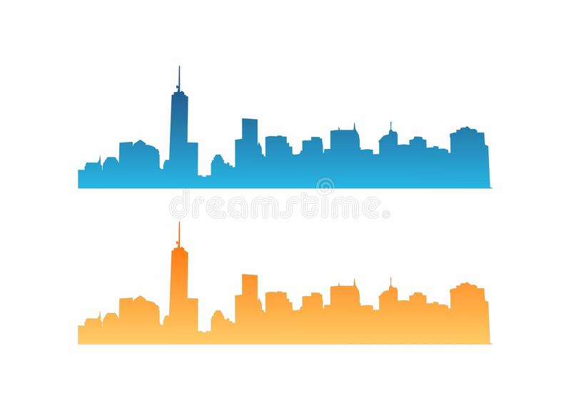 Vektor-Stadt Skyscrapper-Skyline-Panorama-Illustration stockbilder