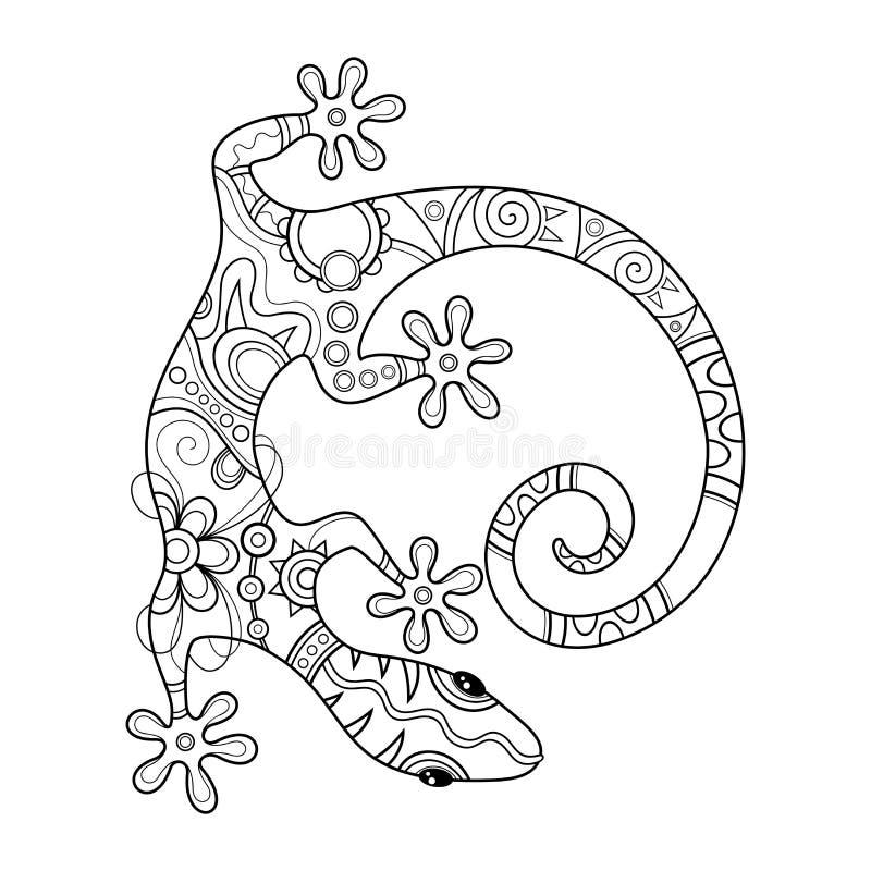 Vektor-Stammes- dekorative Eidechse lizenzfreie abbildung