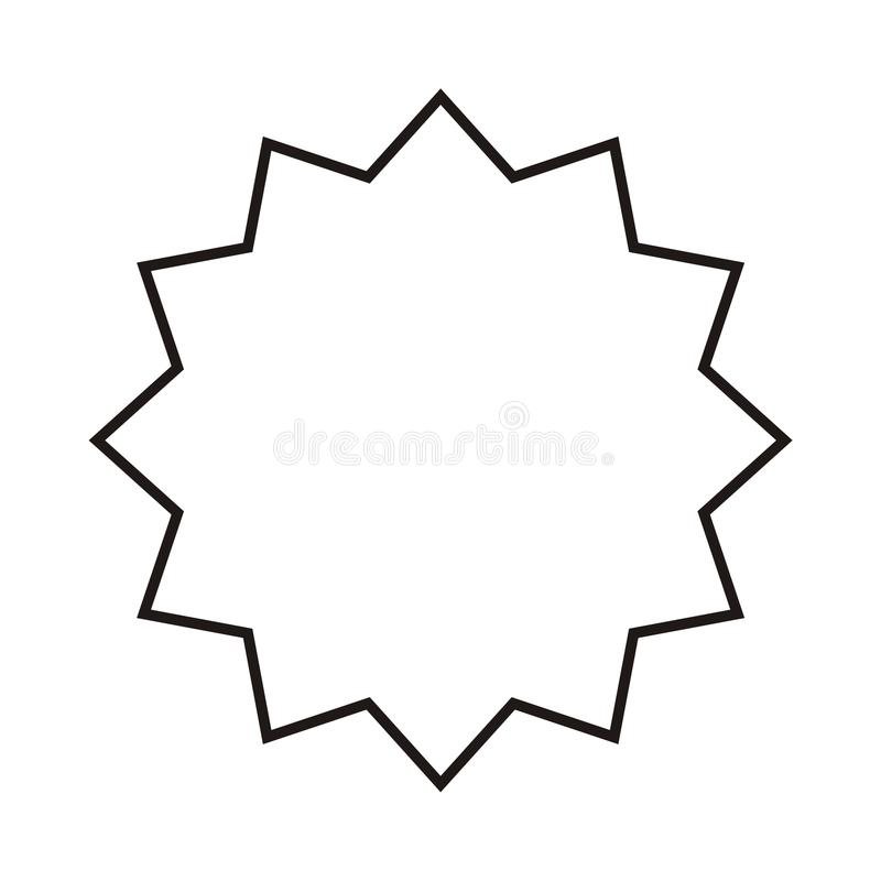 Vektor starburst, Sonnendurchbruchausweis Abstrakter Gang, Mechanismusdetail Schwarzes auf weißer Ikone stock abbildung
