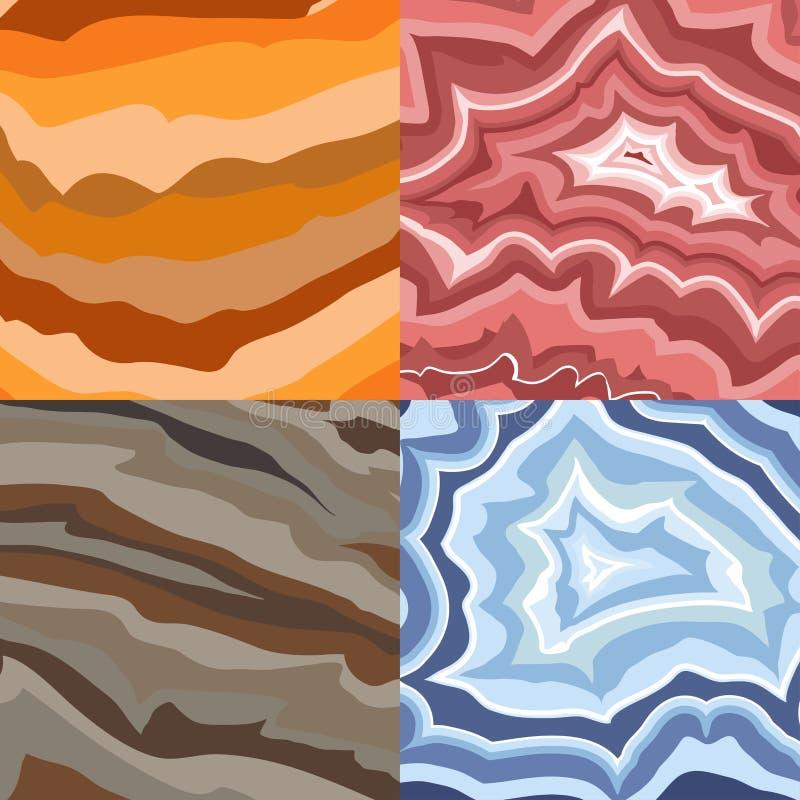 Vektor-Steinbeschaffenheit des halb kostbaren Edelsteinjuwels natürliche kostbare und buntes glänzendes Schmuckmaterialmineralmus stock abbildung