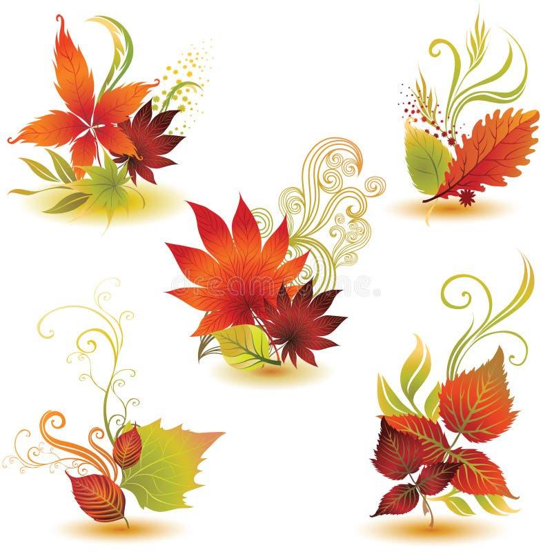 Vektor stellte 2 von bunten Herbstblättern ein vektor abbildung