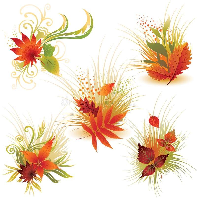 Vektor stellte 4 von bunten Herbstblättern ein lizenzfreie abbildung