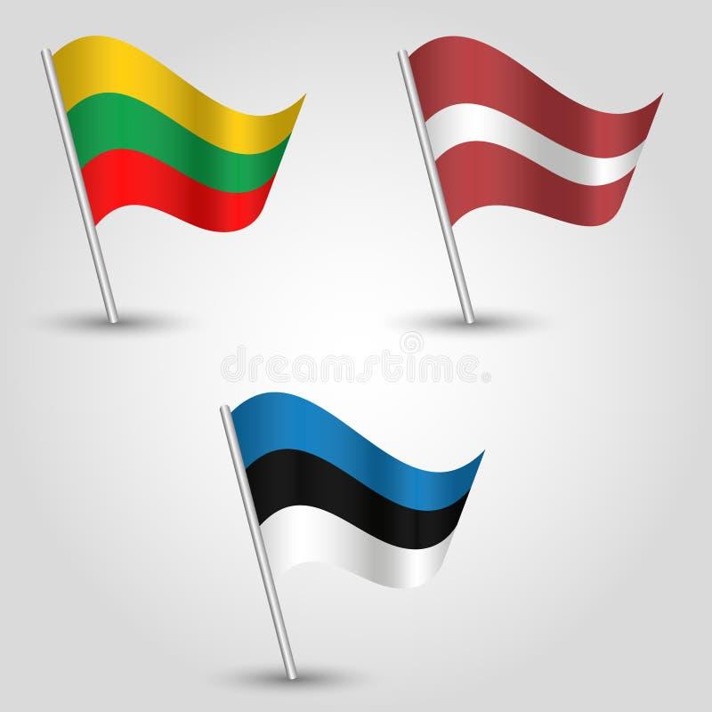 Vektor stellte Flaggen von baltischen Staaten Estland, Lettland und lithvania auf silbernem Pfosten - Este, lativan, lithvanian I vektor abbildung