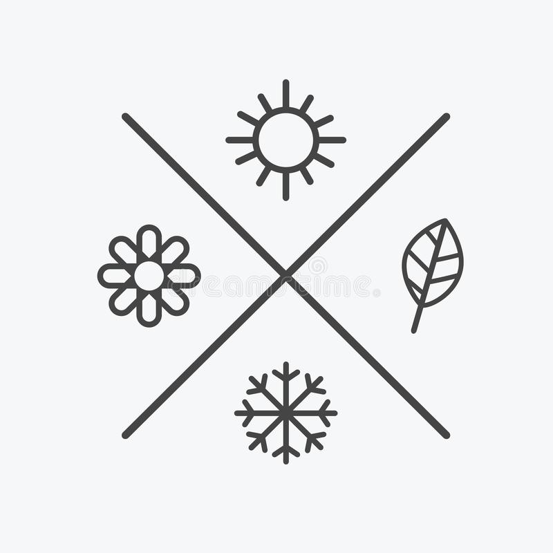 Vektor stellte vier Jahreszeitikonen ein der Jahreszeitwinterfrühlings-Sommerherbst Flache Art, einfache Linienelemente wetter lizenzfreie abbildung