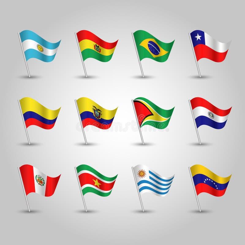 Vektor stellte wellenartig bewegende Flaggen Süd-Amerika auf silbernem Pfosten - Ikone von Zuständen Argentinien, Bolivien, Brasi stock abbildung