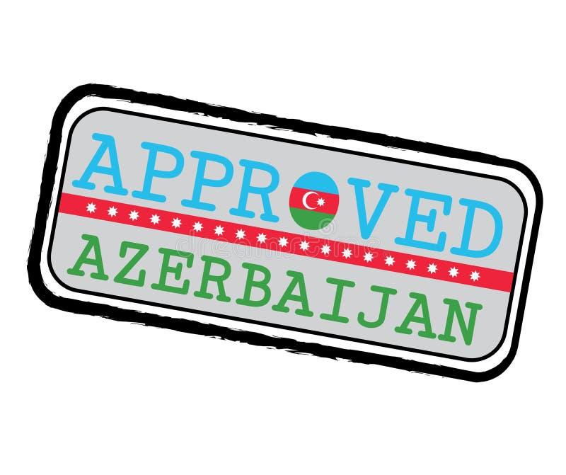Vektor-Stempel des anerkannten Logos mit Aserbaidschan-Flagge in Form O und des Textes Aserbaidschan vektor abbildung
