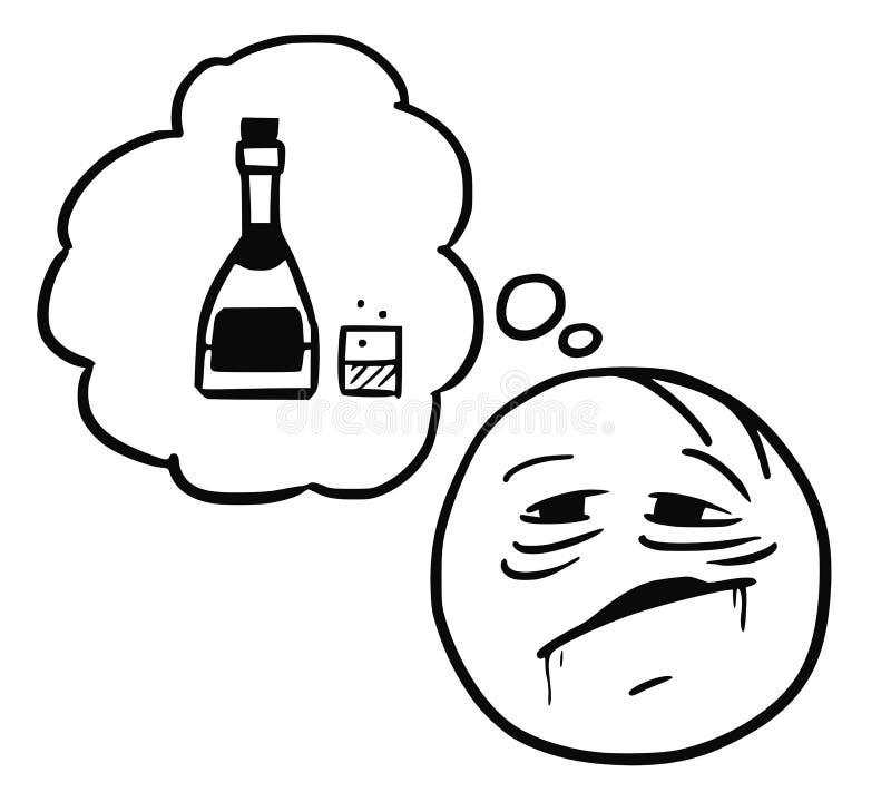 Vektor Stickman-Karikatur des durstigen Trinkers träumend über Alkohol lizenzfreie abbildung