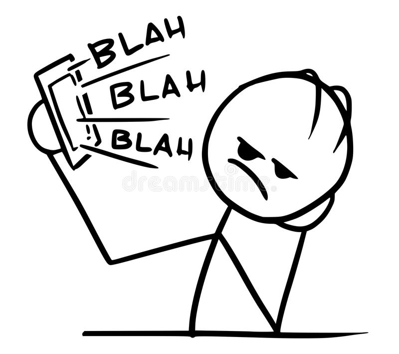 Vektor Stickman-Karikatur des Mannes ermüdet und vom langen Telefon cal gebohrt lizenzfreie abbildung