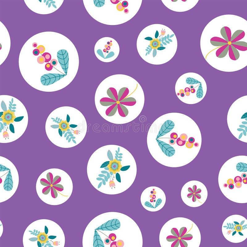 Vektor stiliserad blomma inom den sömlösa modellrepetitionen för cirkel vektor illustrationer