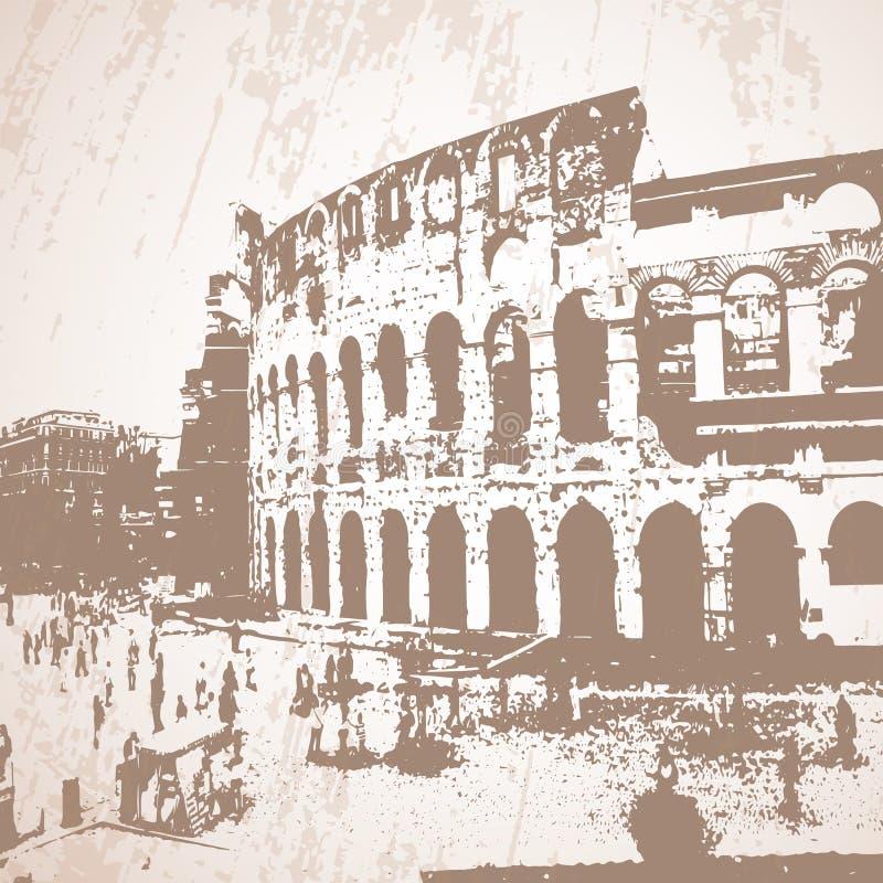 Vektor stiliserad Coliseumaffisch vektor illustrationer