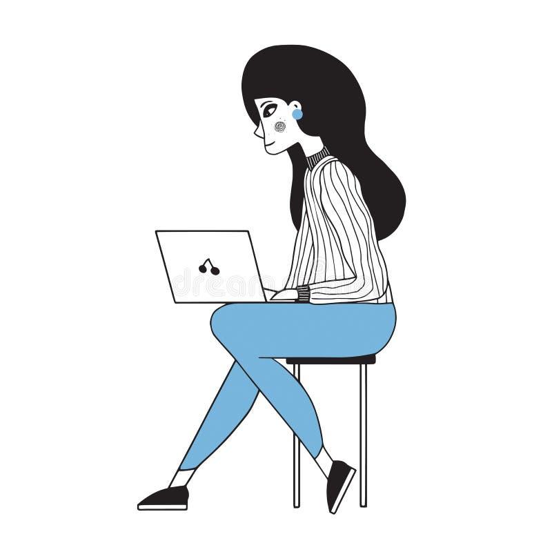 Vektor stiliserad illustration av en härlig gullig flicka med bärbara datorn stock illustrationer