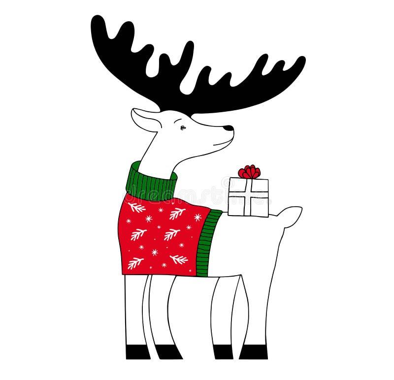 Vektor stiliserad illustration av en julhjort Roliga gulliga julhjortar med gåvan royaltyfri illustrationer