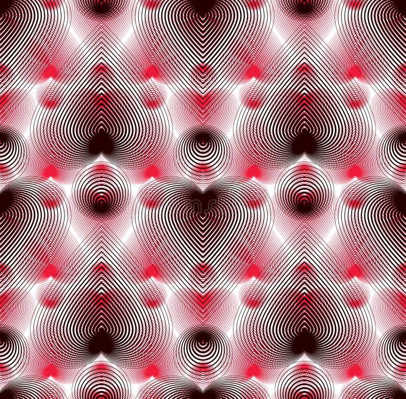 Vektor stiliserad sömlös bakgrund, romantiskt tema Grafisk remsa stock illustrationer