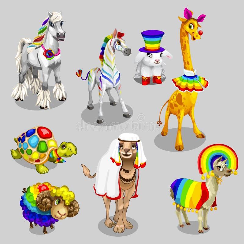 Vektor stiliserade djur med regnbågegarnering vektor illustrationer