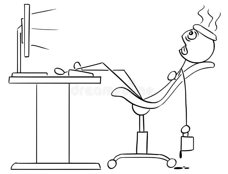 Vektor-Stock-Mann-Karikatur des Mann-Sitzens erschöpft in der Front vektor abbildung
