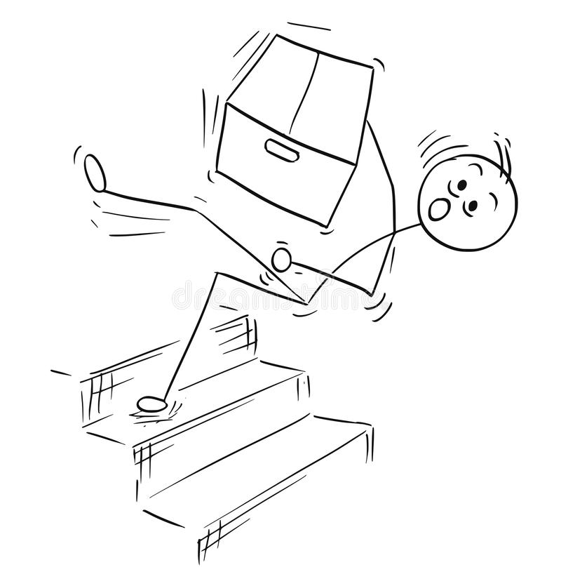 Vektor-Stock-Mann-Karikatur des Mannes fallend vom Treppen-Treppenhaus lizenzfreie abbildung